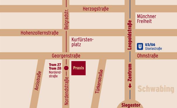 Anfahrtsskizze zur Hautarztpraxis Dr.Daniela Hoffmann - Hautarzt München-Schwabing